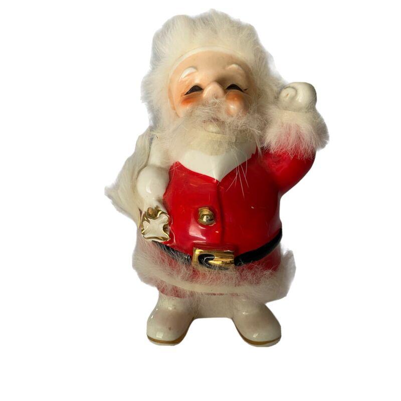 Vintage 1959 Napco Christmas Santa Bank Fur Trim National Potteries Bedford OH