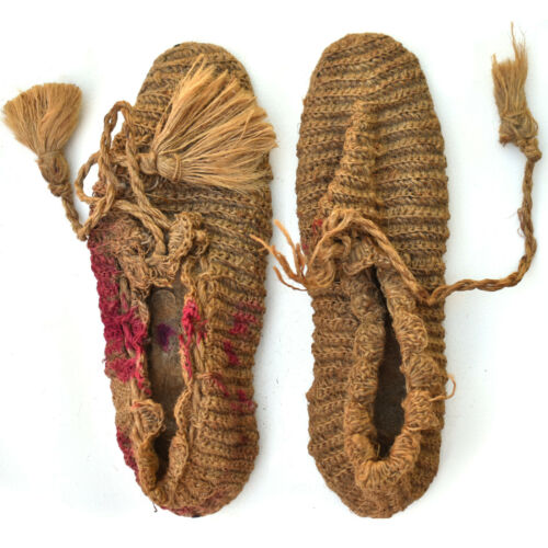 19th - Early 20th Century Mic Mac Indian Crocheted Grass Slippers - Very Rare!