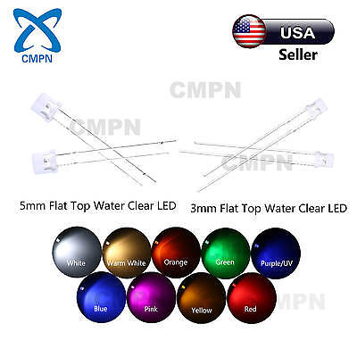 3mm 5mm Flat Top LED Wide Angle Warm White Red Blue RGB Light Diodes Mix Kits