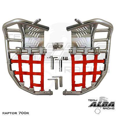 Yamaha Raptor 700  Nerf Bars  Pro Peg Heel Gaurds   Silver Red 197 T7 SR