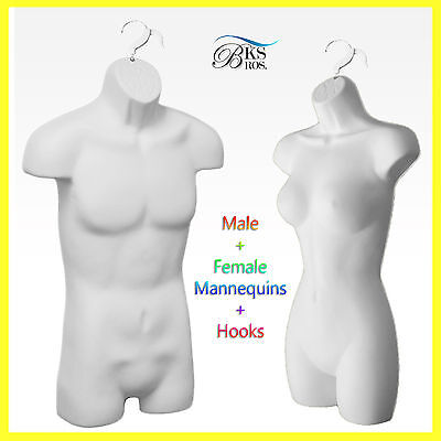 Plastic Man Woman Torso Mannequins White Hook Female Male Hollow Back White