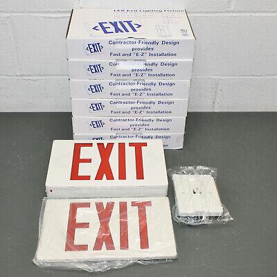 6 Emergency Exit Lighting Red Fixture Universal Led Light Battery Backup