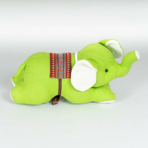 Handmade+Green+Linen+Textile+Elephant+Handmade+Stuffed+Soft+Plush+Toy+New+%236258
