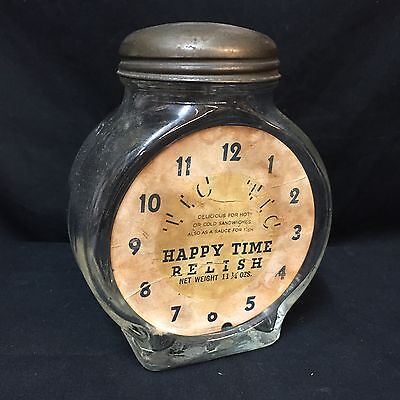 Happy Time Relish Vintage Clear Glass Jar With LId Embossed Clock Paper Label