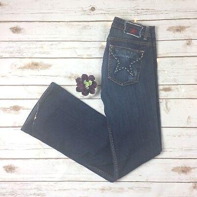 People's Liberation Bella Jeans Boot Cut Star Pocket Cotton Tencel Blend Size 26 Bella Cotton Jeans
