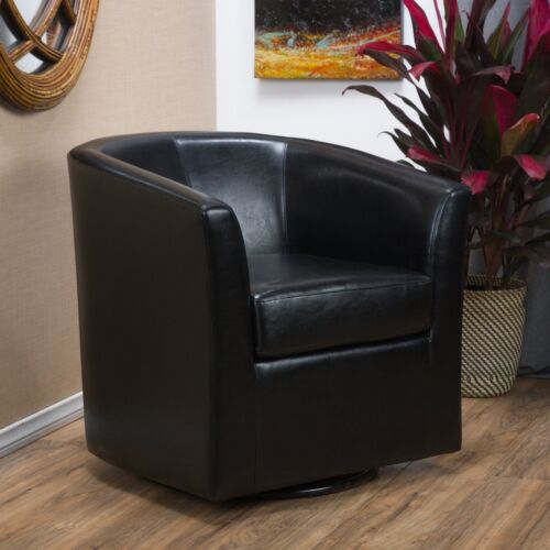 Corley Modern Upholstered Faux Leather Swivel Barrel Club Chair Chairs
