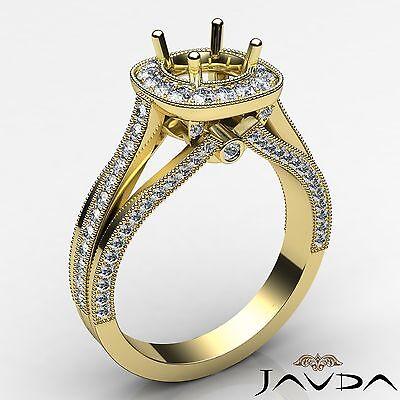 0.9Ct Halo Diamond Engagement Round Semi Mount Millgrain Ring 14k Yellow Gold