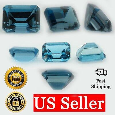 Loose Emerald Cut Genuine Blue Zircon Topaz Stone Single Birthstone Shape USA