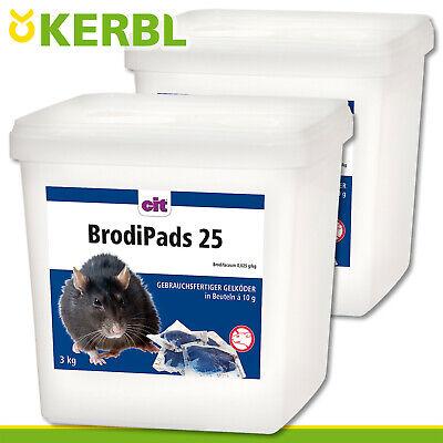 Kerbl 2x 3kg Brodipads 25 Rat Poison Mouse Gelköder Bait Paste Rat
