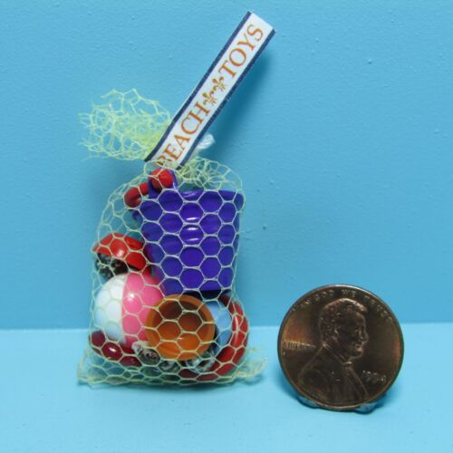 Dollhouse Miniature Beach Bag Filled with Toys Bucket Ball Shells & More MUL5003