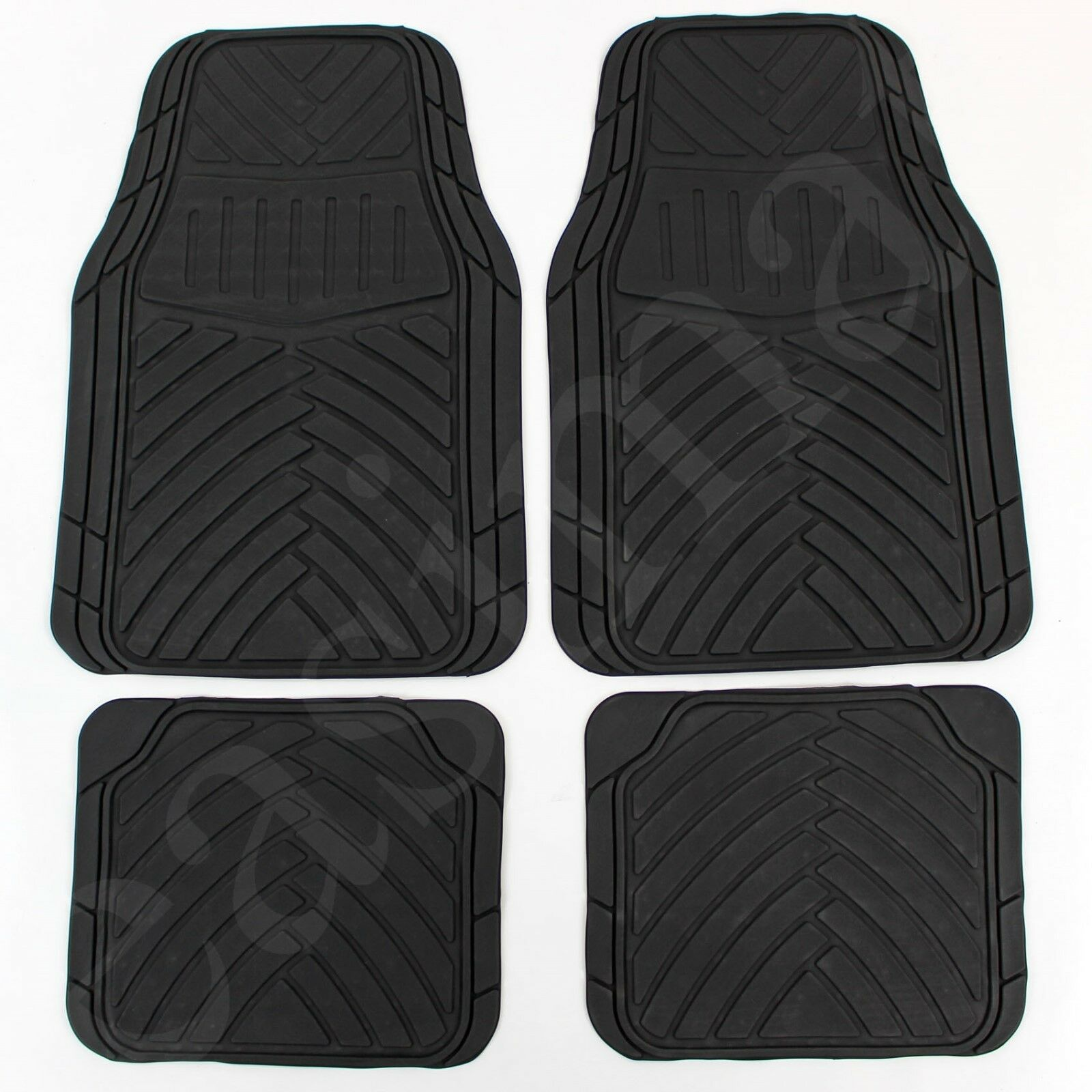 Car Parts - 4 Pcs Rubber Car Van Mats Black Universal Fit Heavy Duty Non Slip Easimat