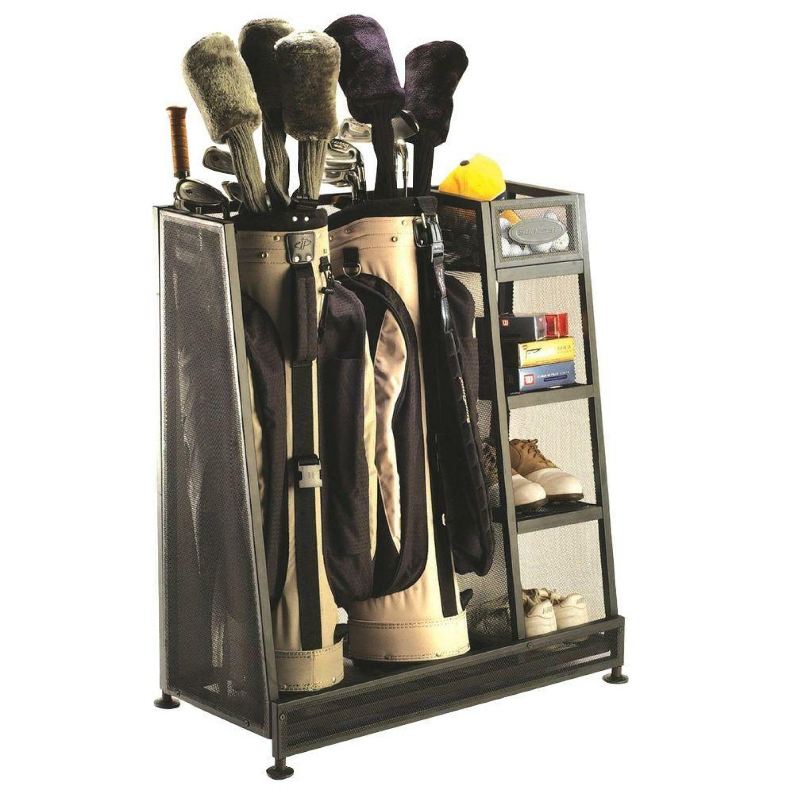 Details About Golf Bag Organizer Gear Storage Two Bags Capacity Leveling Feet 3 Shelves Rack
