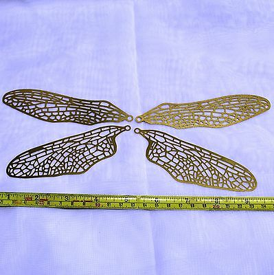 DFF-4 Dragonfly Brass Wing Filigree (1 set) 2 upper /2 lower Wings for Lamps etc