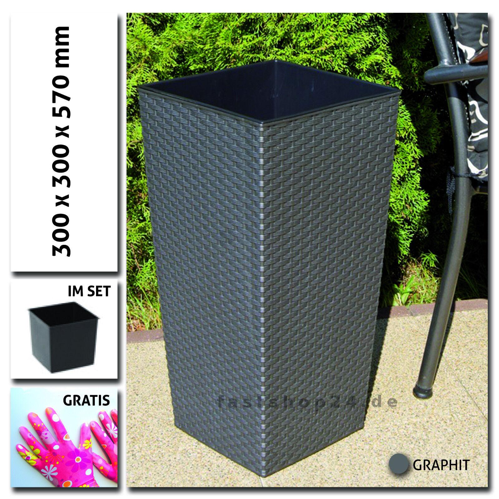 polyrttan optik blumentopf 30x30x57cm 7 farbe blumenk bel. Black Bedroom Furniture Sets. Home Design Ideas