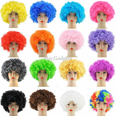 CURLY AFRO FANCY DRESS WIGS FUNKY DISCO CLOWN STYLE MENS/LADIES COSTUME 70S HAIR - Mens Afro Wig