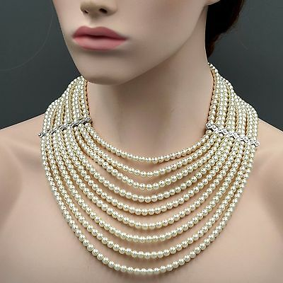 White Glass Pearl Multi Layered Strand Bead Chunky Necklace 7121 Crystal String