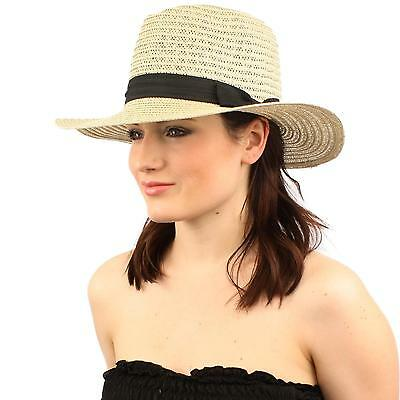 "Unisex Summer Vented Fedora Trilby Panama Floppy 3""+ Wide Brim Hat M/L Natural"