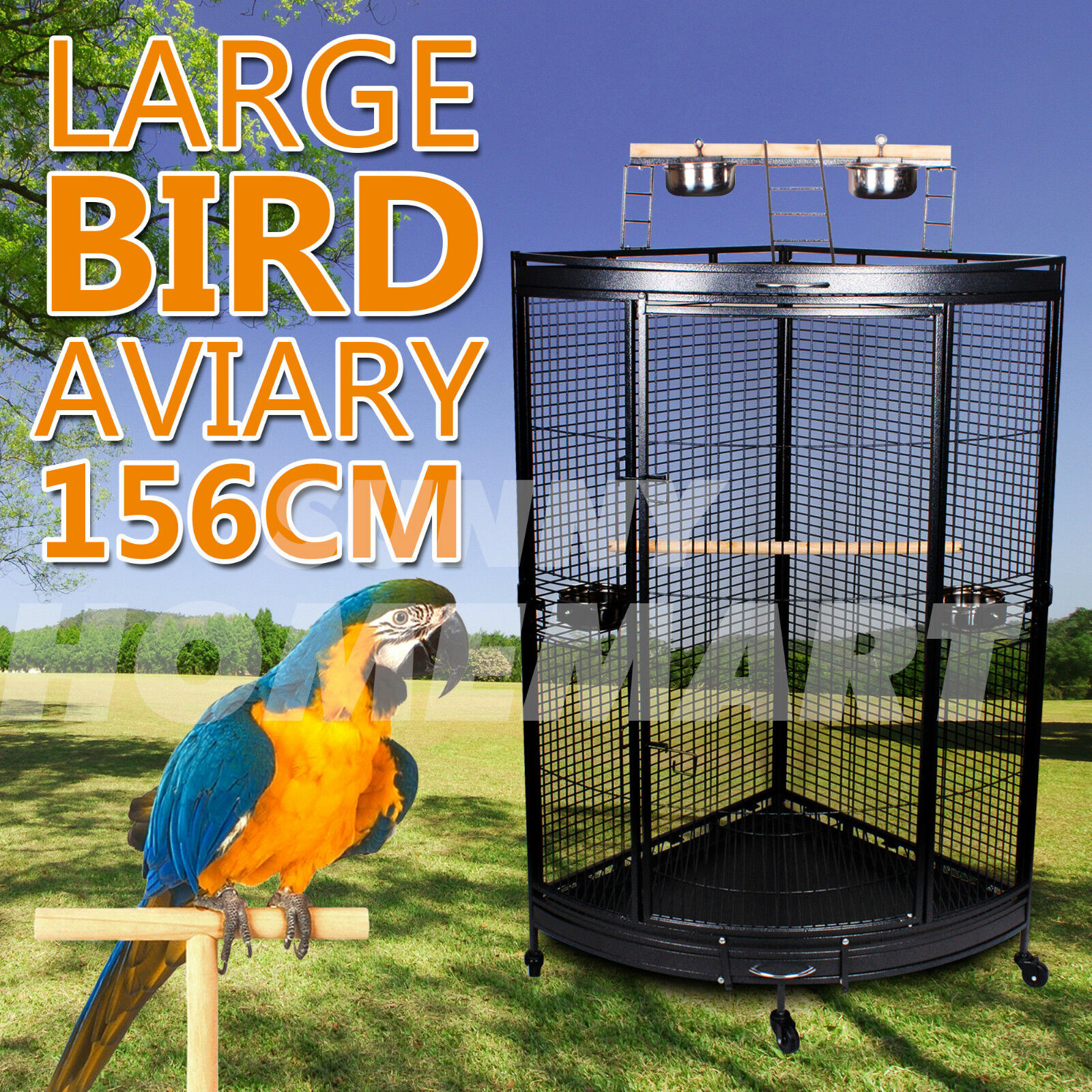 LARGE INDOOR BIRD BUDGIE PARROT WIRE CAGE AVIARY PERCH PORTABLE ON WHEELS 178CM