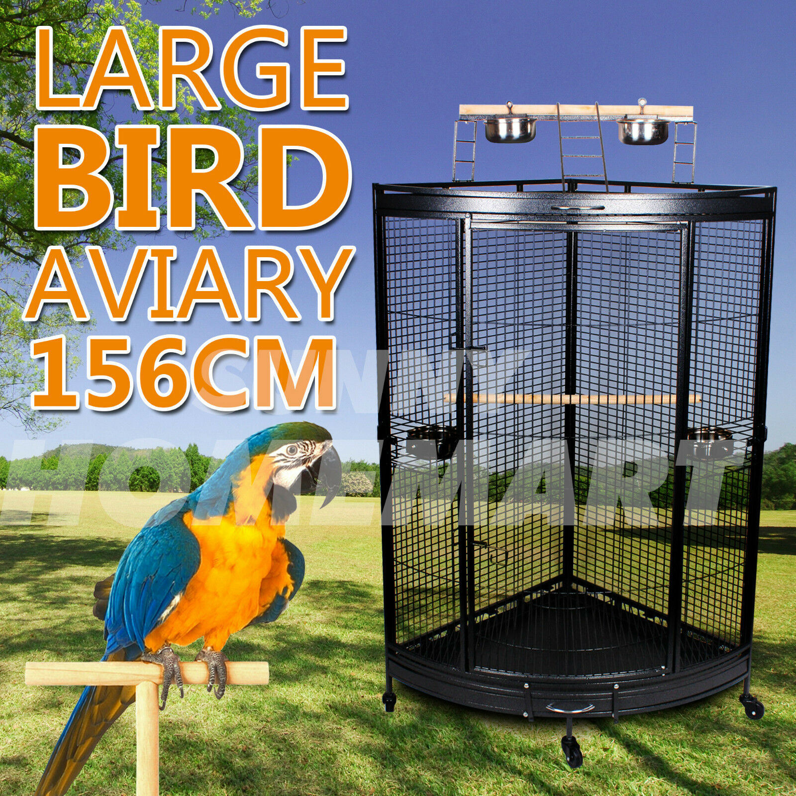 1 x New Large Corner Parrot Aviary Bird Cage With Play Roof Top Ladder Wheels