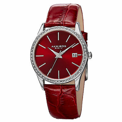 Women's Akribos XXIV AK883RD Swarovski Crystal Bezel Red Leather Strap Watch