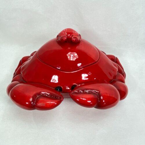 SONOMA NANTUCKET COLLECTION  Crab Cookie Jar/Soup Terrine W/ Baby Crab Handle