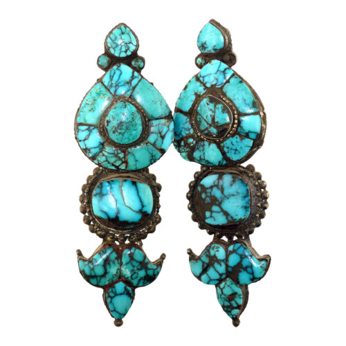 (3125) Rare Antique Tibetan silver and turquoise earrings