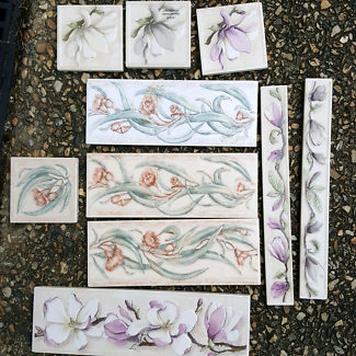 Floral feature tiles for mosaic project