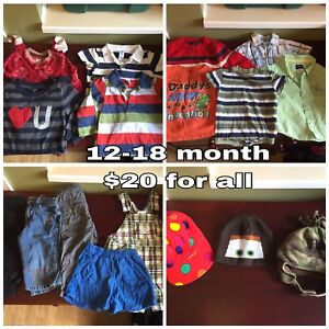 Baby boys clothing, bumper pads, and car seat cover and more