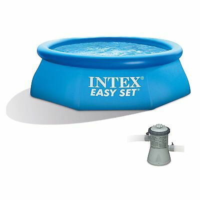 "Intex 8' x 30"" Easy Set Inflatable Swimming Pool with 330 GPH Gauze Pump"