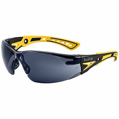 Bolle Rush + Small Safety Glasses with Smoke Anti-Fog Lens, (Yellow Safety Glasses)