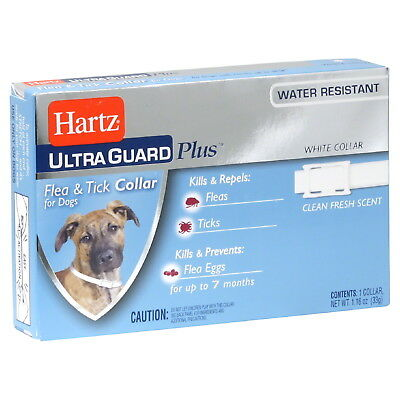 Hartz UltraGuard Plus Flea & Tick Collar for Dogs White Color + Water Resistant