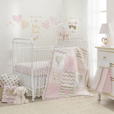 Lambs & Ivy Baby Love 4-Piece Crib Bedding Set - Pink, Gold, White, Love, Hearts