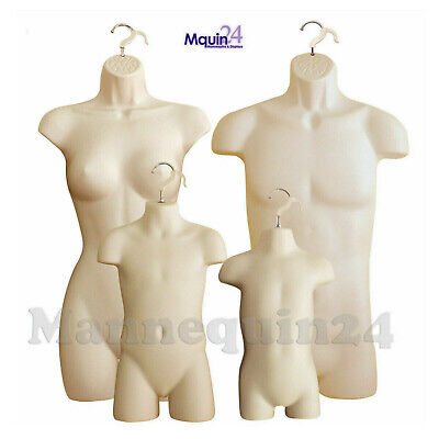 4 Mannequins Flesh Male Female Child Toddler Torso Hanging Dress Forms