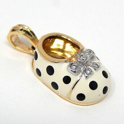 Diamond Bootie Charm - Diamond & Enamel Polka Dot Bootie Charm Pendant 18 kt Yellow & White Gold A5597