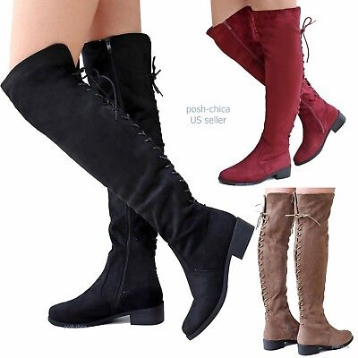 New Women TJ55 Faux Suede Lace Up Over Knee High Western Long Flat Riding Boots