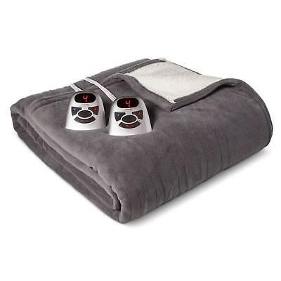 Electric Microplush with Sherpa Blanket Full Gray - Biddeford