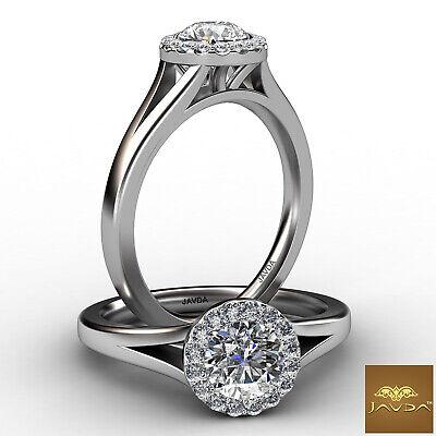 Split Shank French U Pave Halo Round Diamond Engagement Ring GIA F VS2 0.91 Ct