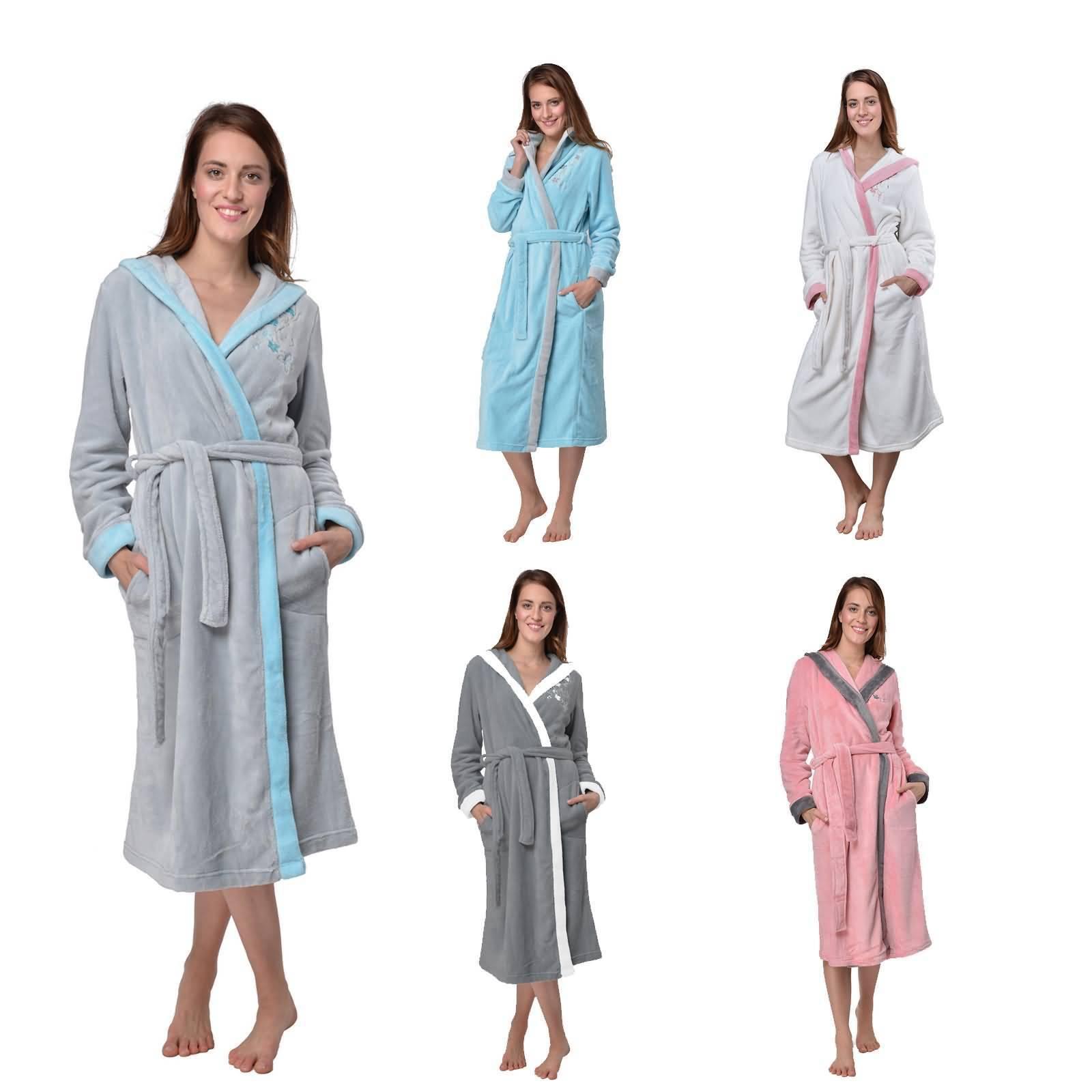 Bademantel Damen Fleece