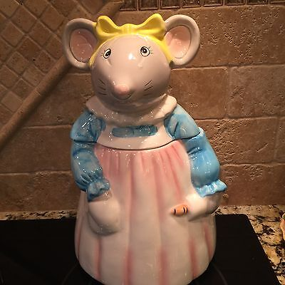 Vintage Kitchen Mouse Cookie Jar With Rolling Pin Apron Yellow Bow
