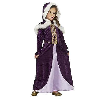 Kids Girl's Winter Princess Cosplay Costume Hooded Dress Belle Anna S 4-6 M 8-10
