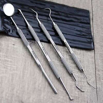 4 Pcs Set Dental Tools Kit Scalers Probes Steel Pick Mouth Mirror Tooth Scrapers