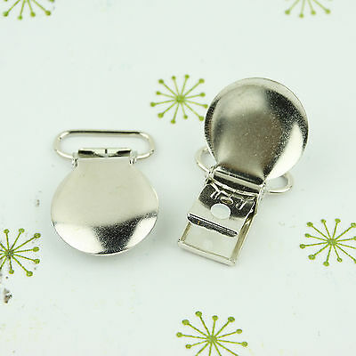 Round Face Pacifier Clips/ Suspender Clip 3/4 INCH Round Metal Dummy/Paci (Round Metal Clips)