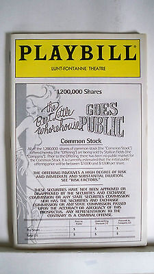 BEST LITTLE WHOREHOUSE GOES PUBLIC Playbill DEE HOTY / TOMMY TUNE Flop NYC