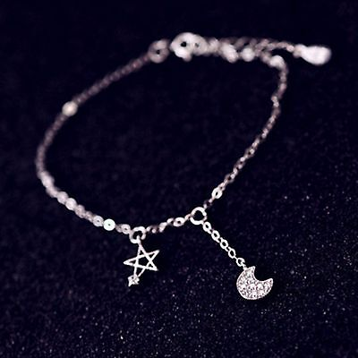 Solid Sterling Silver Moon and Star Dangle Charm Pendant Anklet Stamped 925