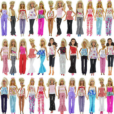 10pcs=5 Blouse & 5 Trousers Pants Casual Fashion Clothes Outfits For Barbie Doll