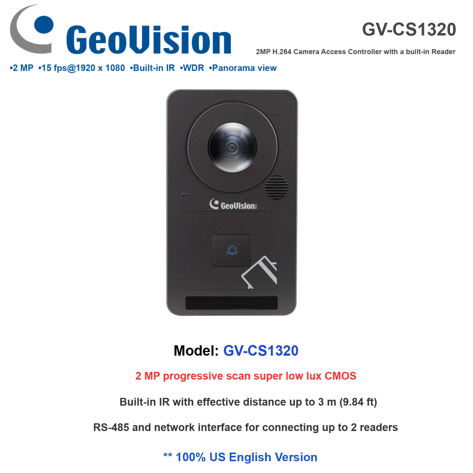 Geovision GV-CS1320 2MP H.265 1080P 180˚ Panoramic IP Camera Reader Controller