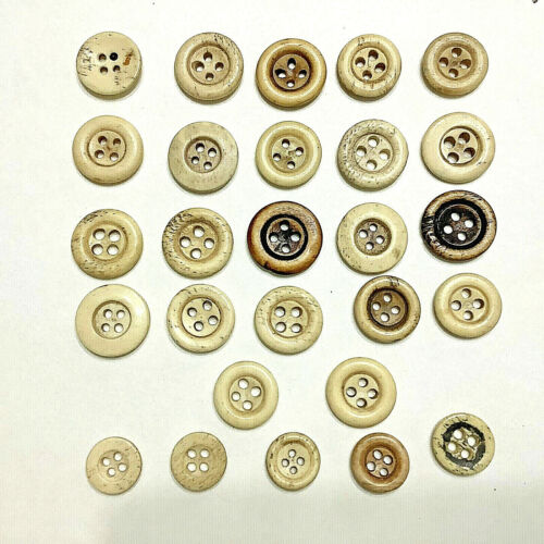 27 Antique Bone Buttons 4 Holes Some With Center Hold Mark & Ringed Rim