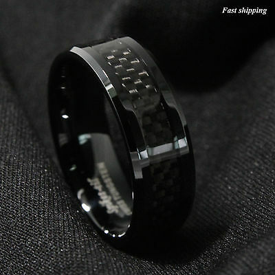 Inlay Tungsten Band (8mm Tungsten Carbide ring Black Carbon Fiber inlay Wedding Band mens jewelry )