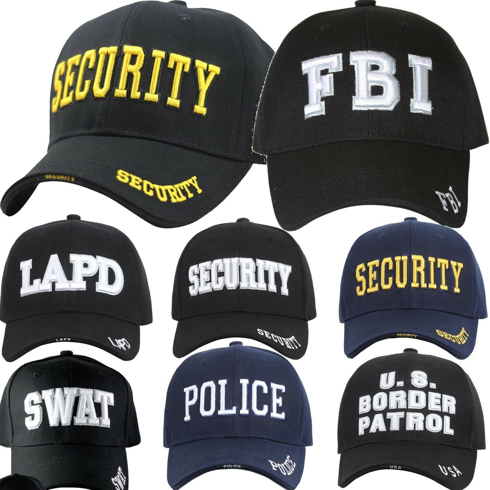 Baseball Cap FBI LAPD SWAT SECURITY US BORDER PATROL POLICE Navy Black Military