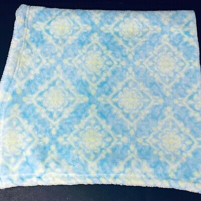 Blankets and Beyond Blue Yellow Damask Pattern Baby Blanket Fleece Flowers Lovey